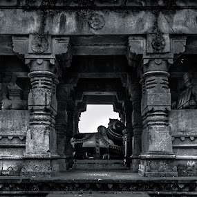 Mandap of Sanghameshwar Temple by Rohan Pavgi - Buildings & Architecture Statues & Monuments ( black and white, maharastra, corridor, architecture, old building, #ancient, hinduism, history, temple, sculptures, sculpture, hindu, india, historical, pune,  )