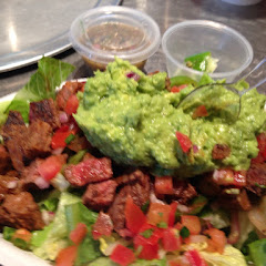 Salad with steak a guacamole. :-)