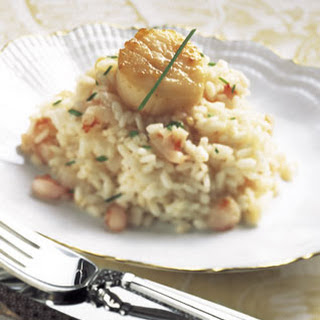 Seared Scallops on Shrimp and Truffle Risotto.