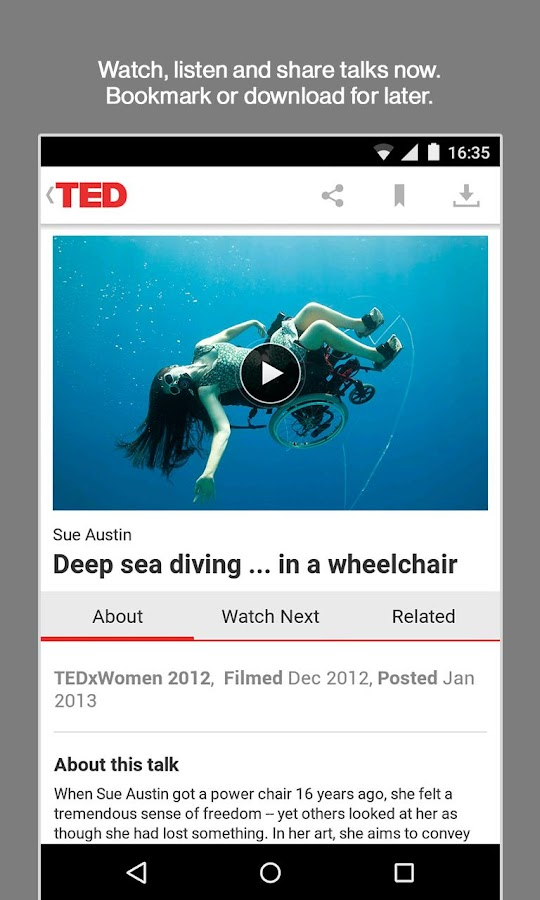 Screenshots of TED for Android