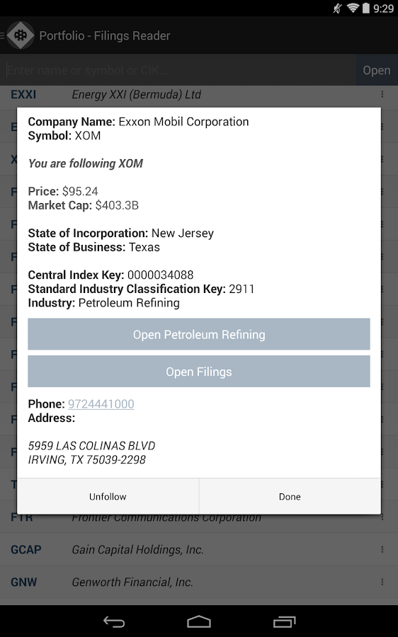 SEC Filings Reader- screenshot