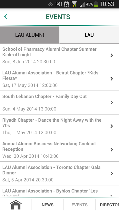 LAU ALUMNI- screenshot