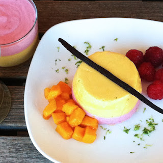 Mango/Lime and Raspberry/Vanilla Mousse.