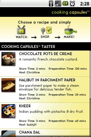 Cooking Capsules Taster- screenshot