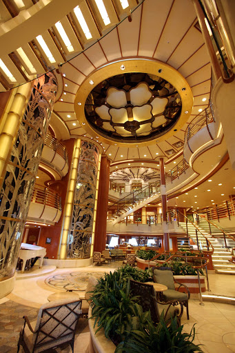 The pretty atrium of Star Princess just as guests were boarding for a cruise from San Francisco to Mexico.