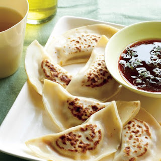 Shrimp Pot Stickers with Sriracha-Ginger Dipping Sauce.