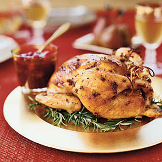 Rosemary Garlic Roast Chicken With Pecan Cranberry Chutney