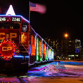 Holiday Train - Edmonton Stop by E.g. Orren - Transportation Trains ( cp, christmas lights, christmas, photo by ego, train, transportation, edmonton, charity, colorful, mood factory, vibrant, happiness, January, moods, emotions, inspiration, city at night, street at night, park at night, nightlife, night life, nighttime in the city,  )