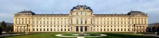 Garden façade of the Würzburg Residence palace in southern Germany leading into the Court Gardens built in the 1500s.