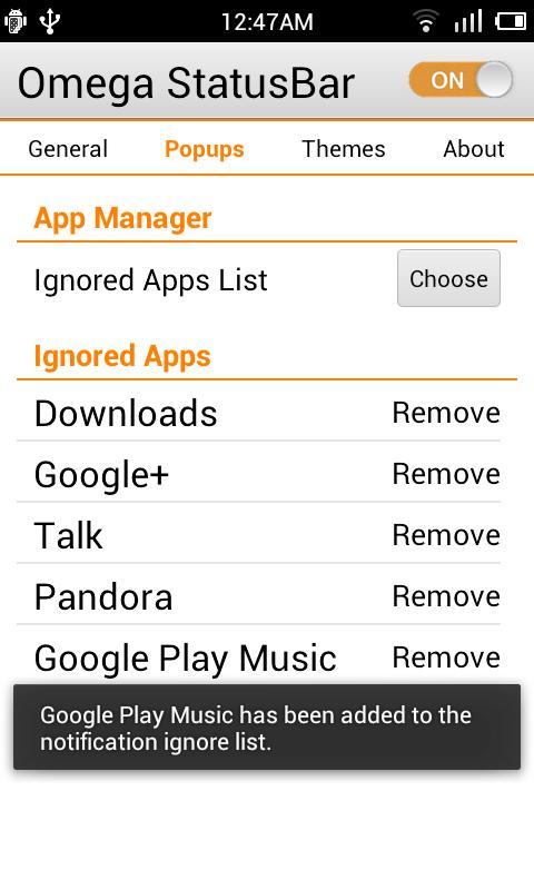 Omega StatusBar- screenshot