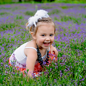 Purple at Play by Amber Welch - Babies & Children Child Portraits ( field, child, giggle, laugh, girl, purple, dress, play, baby, toddler, flowers, necklace )