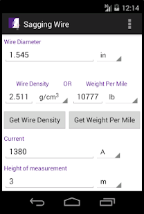 Sagging Wire Calculator screenshot