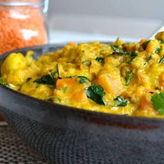 Cauliflower, Sweet Potato & Lentil Curry.