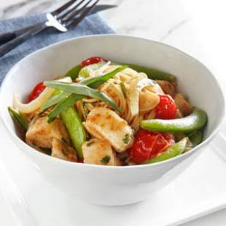 Chicken & Snap Pea Stir-Fry over Angel Hair Pasta.