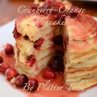 Cranberry-Orange Pancakes with Cranberry Infused Maple Syrup.