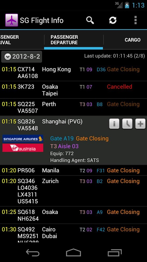 Singapore Flight Info - screenshot