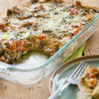 Mushroom, Tomato and Gruyere Breakfast Casserole.
