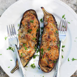 Eggplants Stuffed With Pork, Vegetables And Spices.