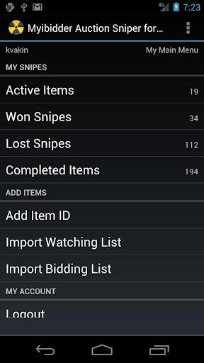 Myibidder Bid Sniper for eBay screenshot