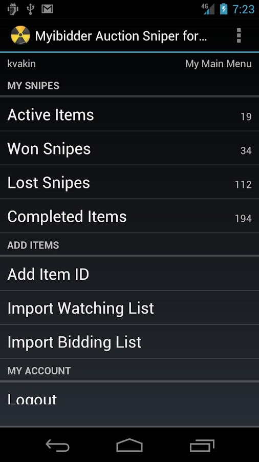 Myibidder Bid Sniper for eBay- screenshot