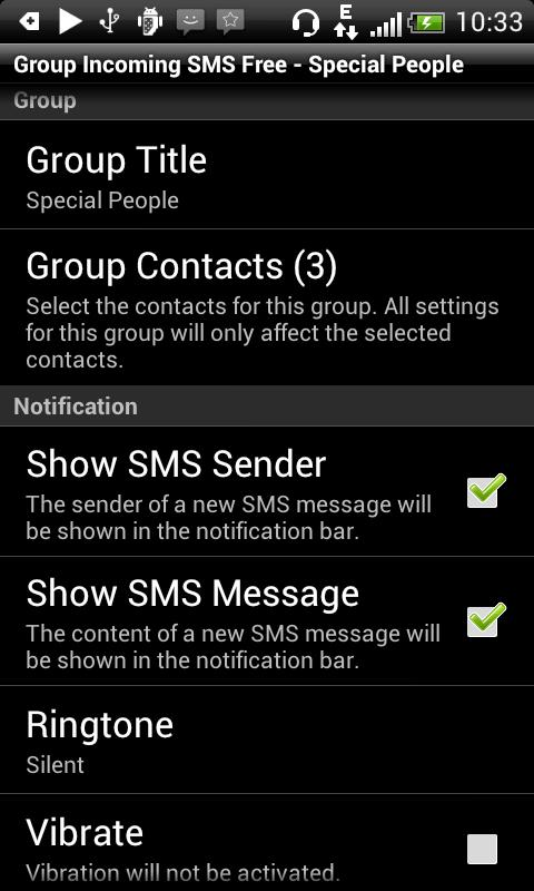 Group Incoming SMS- screenshot