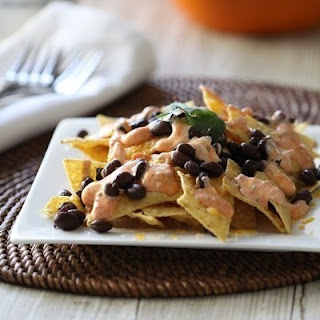 Creamy Salsa and Black Bean Nachos.