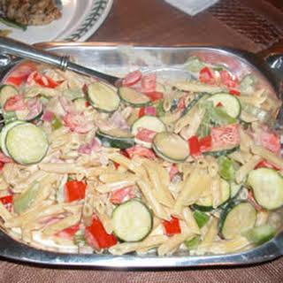 Pasta With Veggies In a Tahini and Yogurt Sauce.