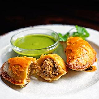 Shredded Beef Verde Empanadas with Blended Chimichurri