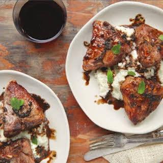Lamb Chops With Garlic-Mint Sauce And Cauliflower Mash.
