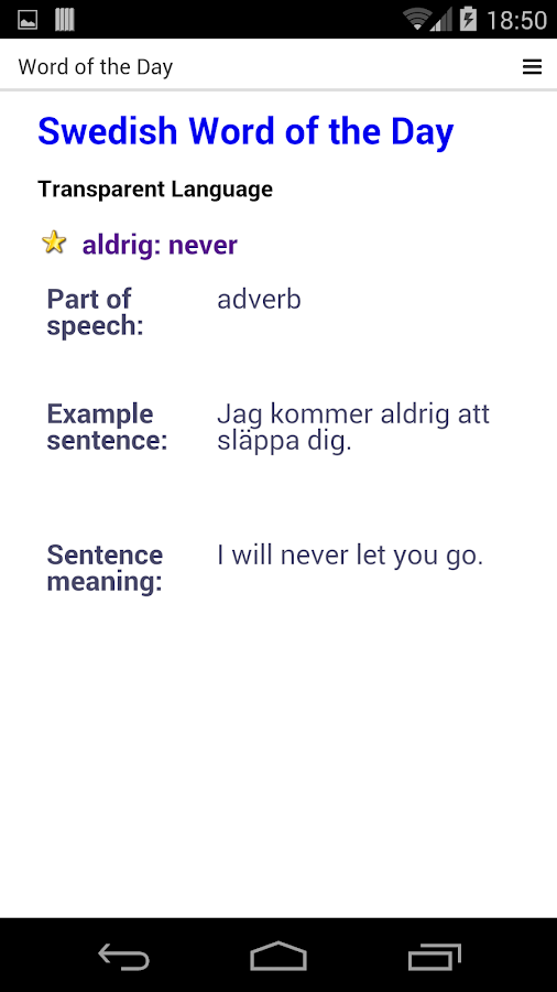 Swedish Dictionary Free - screenshot