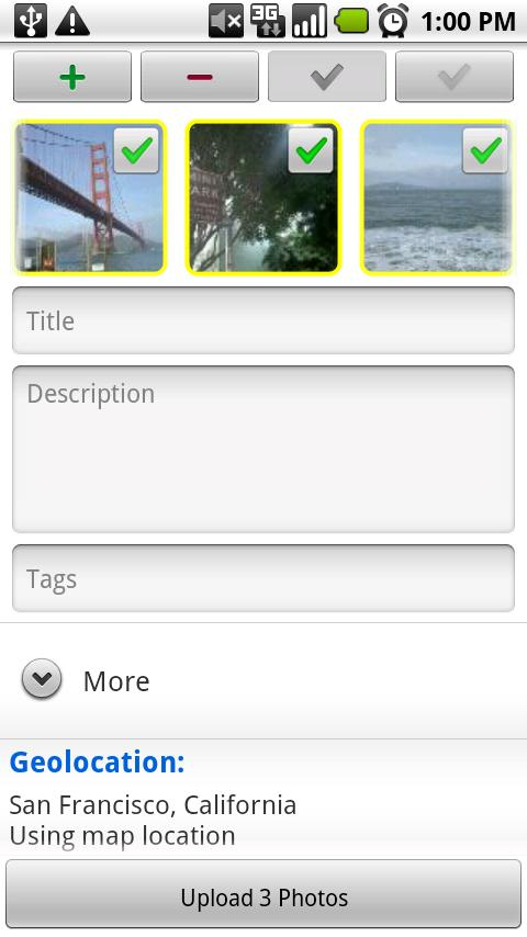 upStream: Flickr Uploader - screenshot