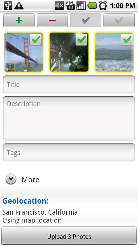 upStream: Flickr Uploader - screenshot