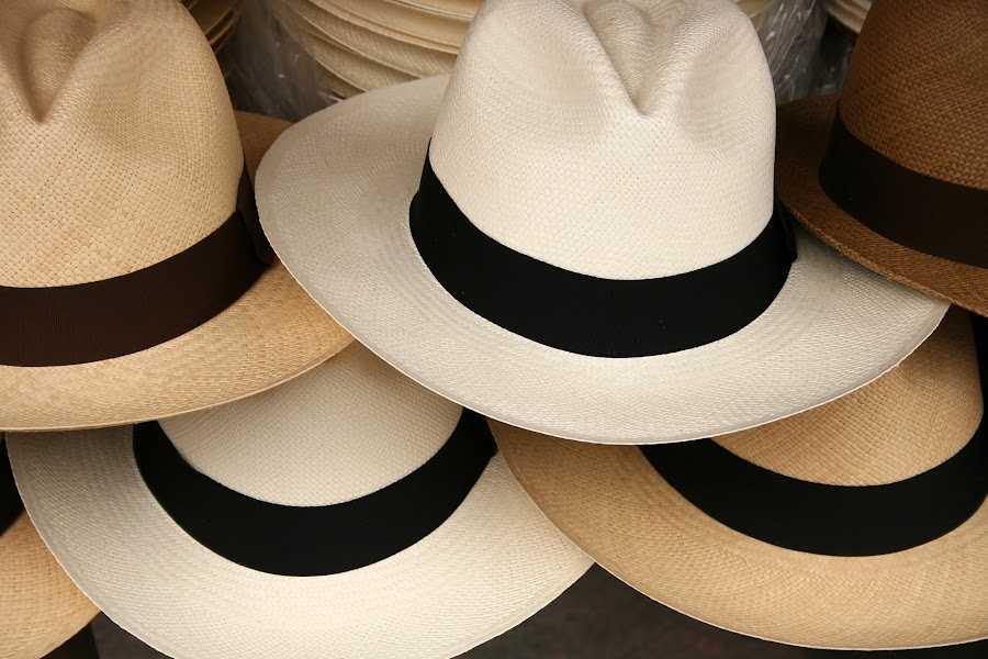Stacked Panama Hats by Robert Hamm - Artistic Objects Clothing & Accessories ( panama hat, craft, otavalo, market, brim, ecuador, color, texture, outdoor, handmade, material, hat )