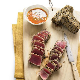 Sesame Seared Tuna with Ginger-Carrot Dipping Sauce.