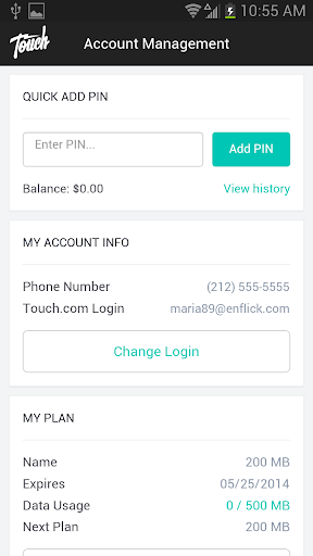 Touch Mobile Account