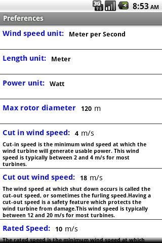 Wind Turbine Estimator beta - screenshot