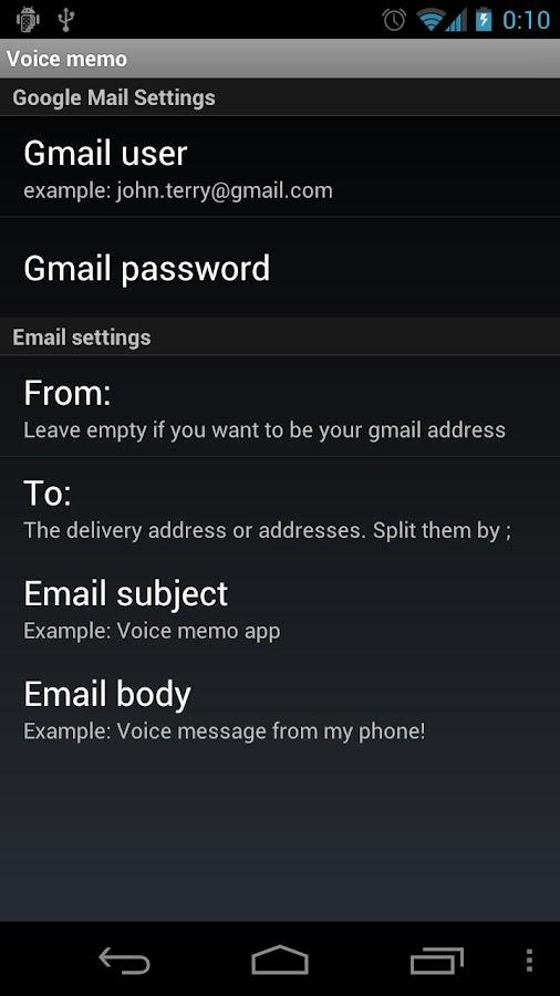 Voice mail- screenshot