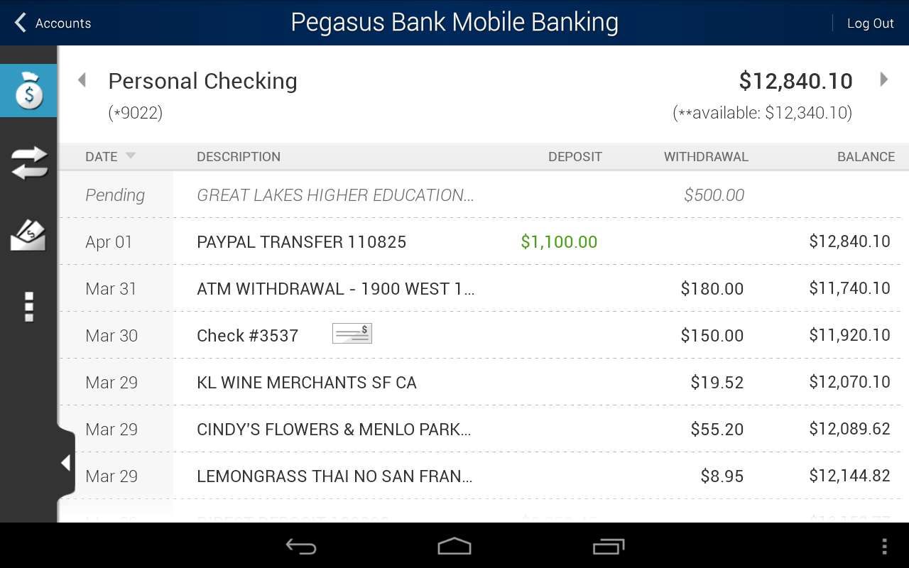 Pegasus Bank Mobile Banking - screenshot