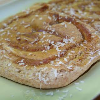 Healthy Peanut Butter Coconut Swirl Pancakes.