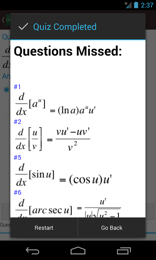 Derivative and Integral Rules - screenshot