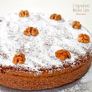 3 Ingredient Walnut Flourless Cake.