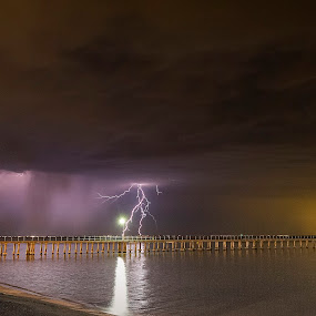 Dromana Pier Lightning Storm by Adam Walters - Landscapes Weather ( night photography, lighting, pier, long expsoure, dromana victoria )