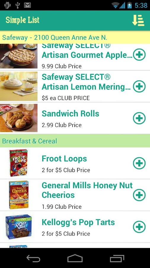 Simple Grocery List CartWheel - screenshot
