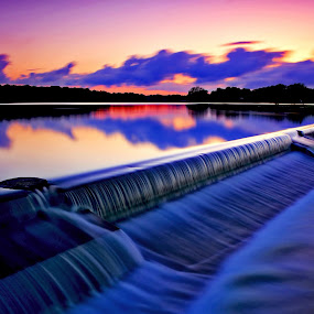 Spillway Sunset by James Gramm - Landscapes Waterscapes ( water, sky, sunset, colors, reflections, virginia, long exposure, usa )