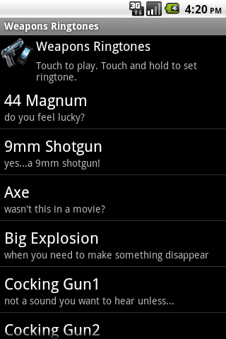 Weapons Ringtones - screenshot