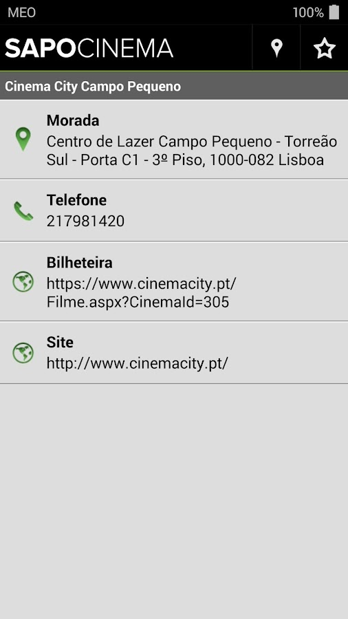 SAPO Cinema - screenshot