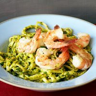 Red and Green Pesto with Pasta and Lemon Shrimp