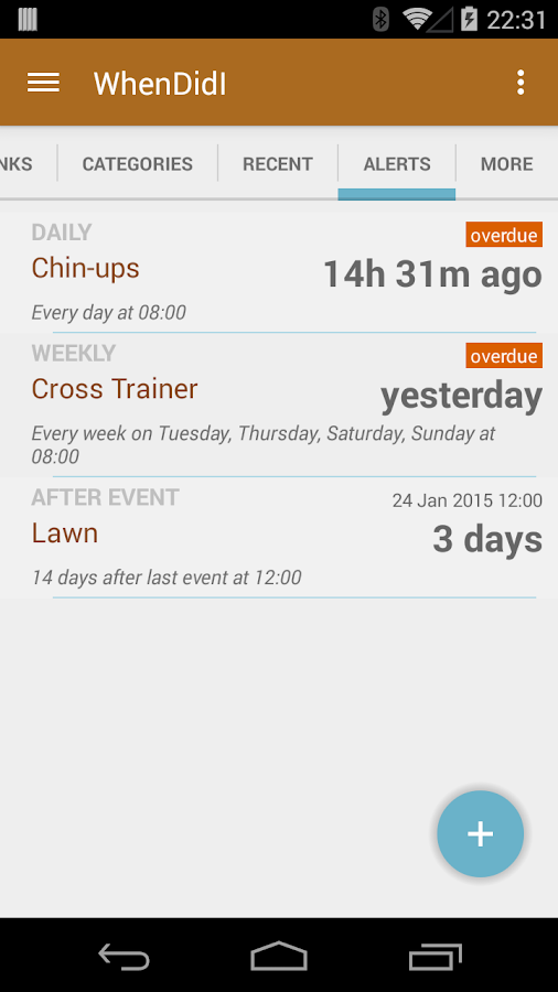 WhenDidI - Event Tracker- screenshot