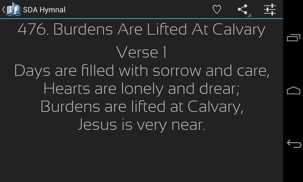 Sda hymnal screenshot