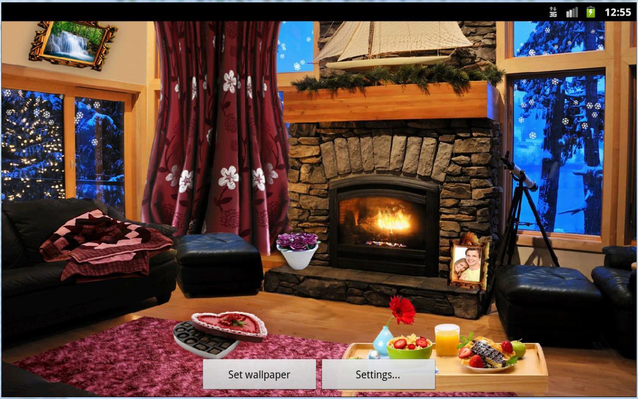 romantic fireplace live wallpaper screenshot